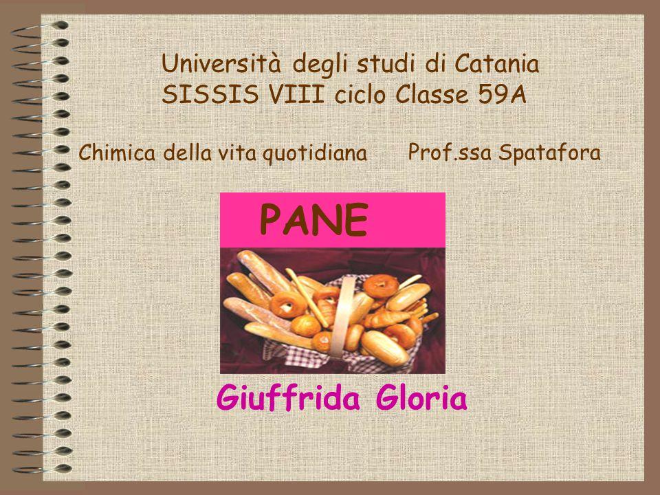 PANE Università degli studi di Catania SISSIS VIII ciclo Classe 59A