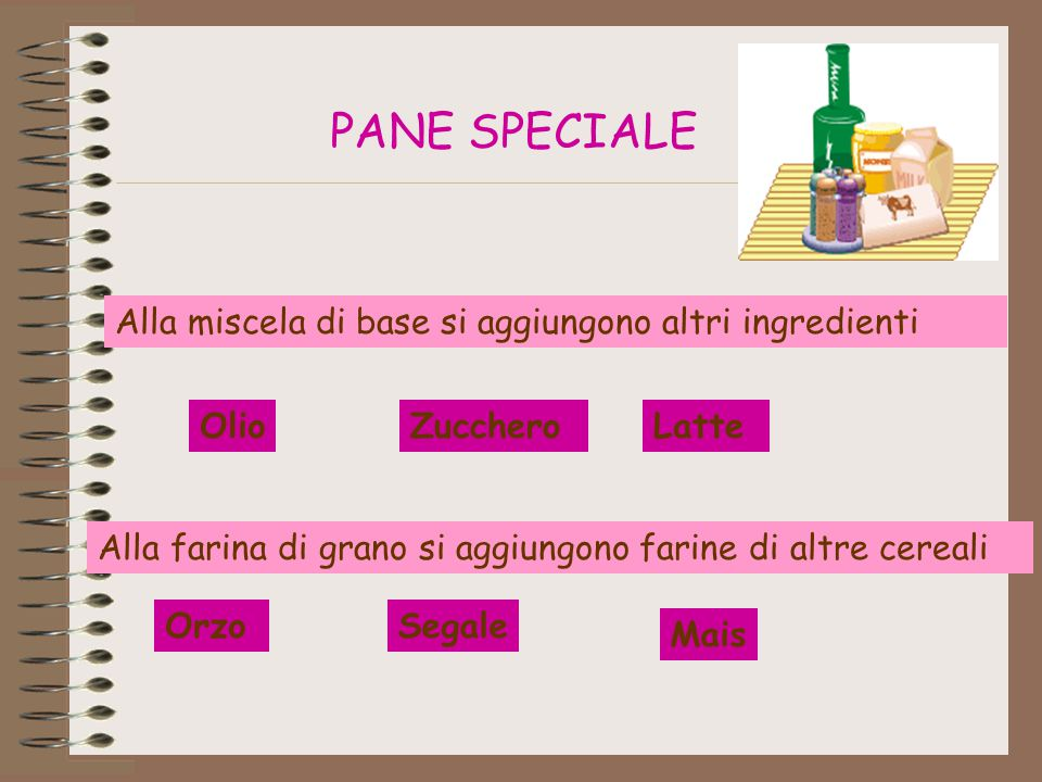 PANE SPECIALE Alla miscela di base si aggiungono altri ingredienti