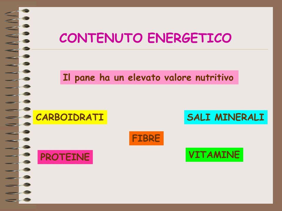 CONTENUTO ENERGETICO Il pane ha un elevato valore nutritivo