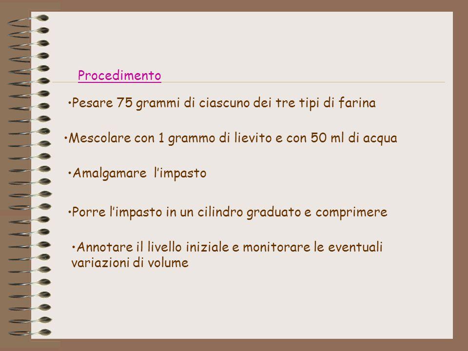 Procedimento Pesare 75 grammi di ciascuno dei tre tipi di farina. Mescolare con 1 grammo di lievito e con 50 ml di acqua.