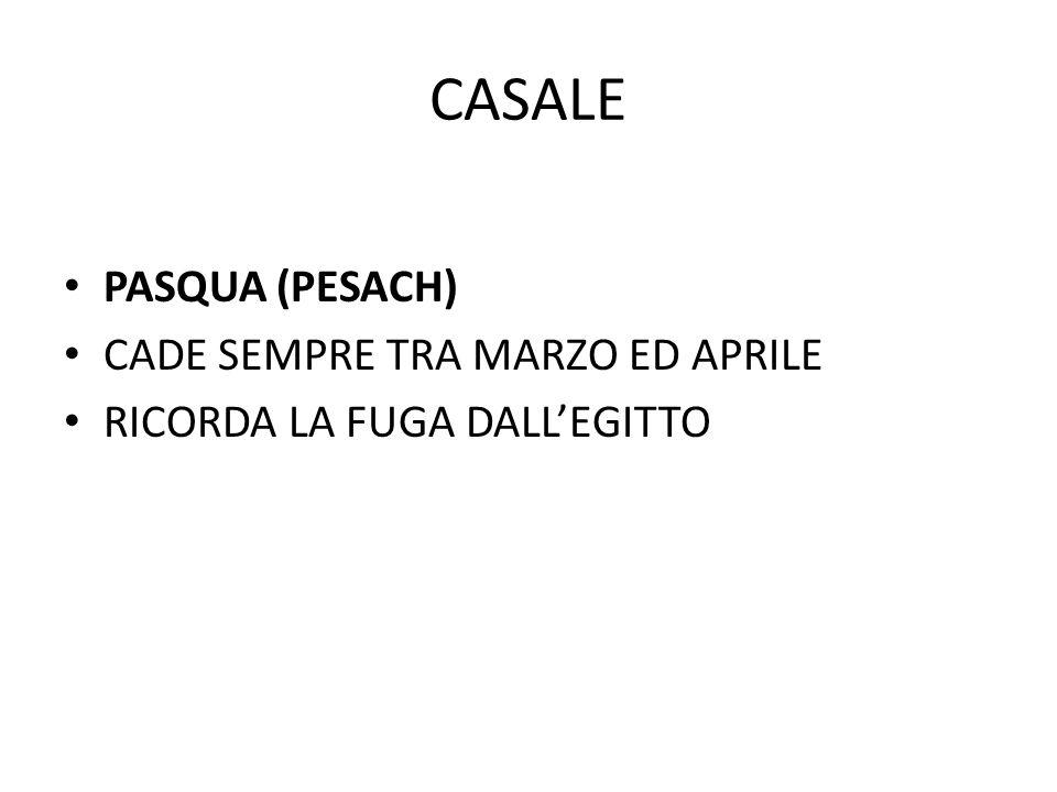 CASALE PASQUA (PESACH) CADE SEMPRE TRA MARZO ED APRILE