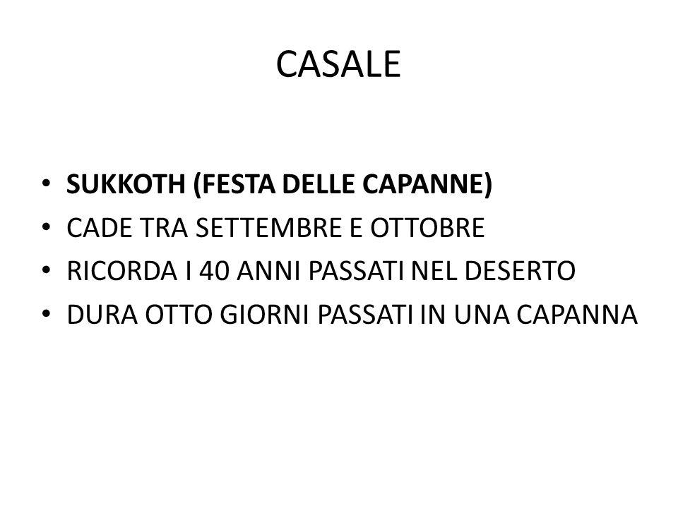CASALE SUKKOTH (FESTA DELLE CAPANNE) CADE TRA SETTEMBRE E OTTOBRE