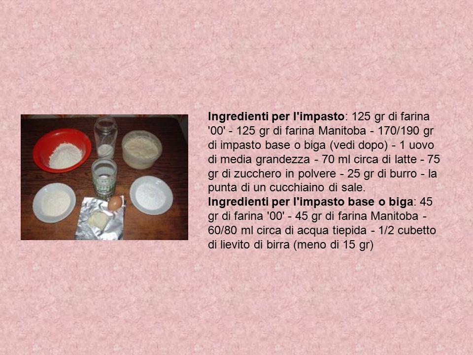 Ingredienti per l impasto: 125 gr di farina 00 - 125 gr di farina Manitoba - 170/190 gr di impasto base o biga (vedi dopo) - 1 uovo di media grandezza - 70 ml circa di latte - 75 gr di zucchero in polvere - 25 gr di burro - la punta di un cucchiaino di sale.