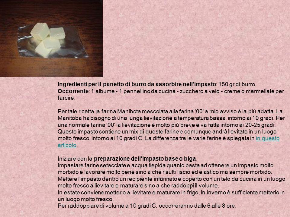 Ingredienti per il panetto di burro da assorbire nell impasto: 150 gr di burro.