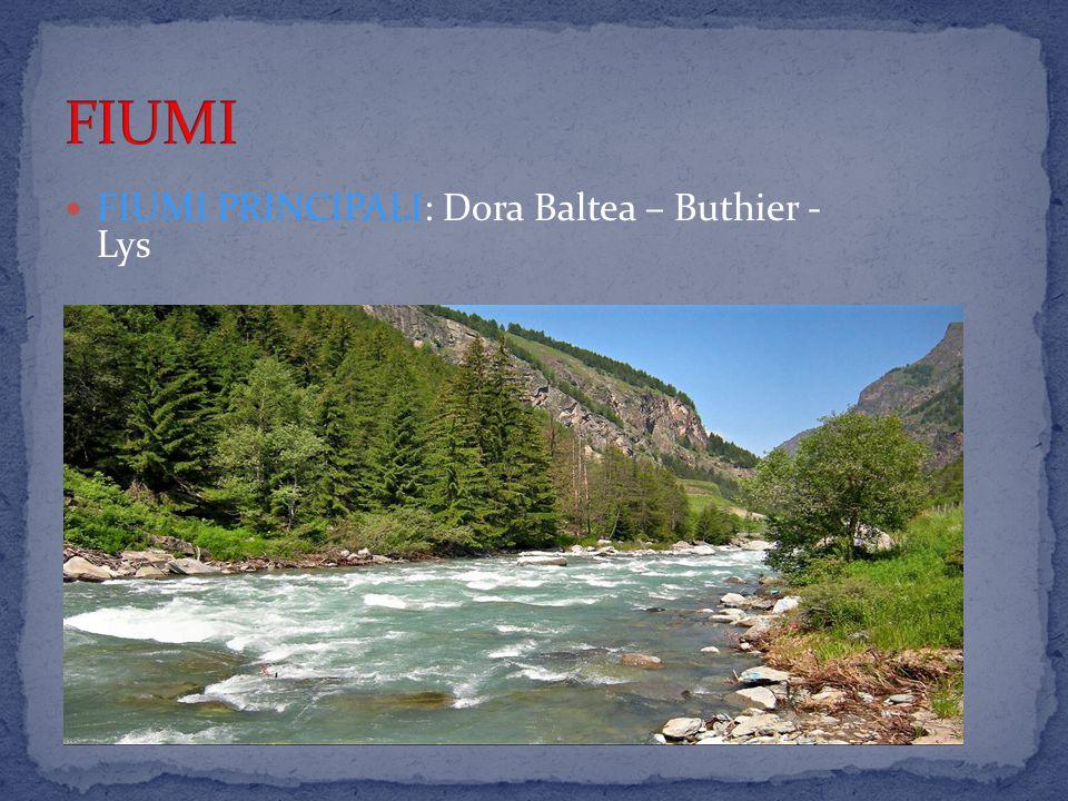 FIUMI FIUMI PRINCIPALI: Dora Baltea – Buthier - Lys