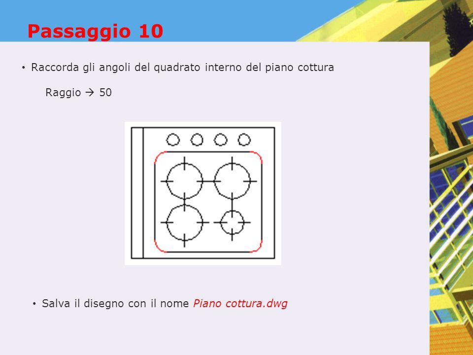 Passaggio 10 Raccorda gli angoli del quadrato interno del piano cottura.