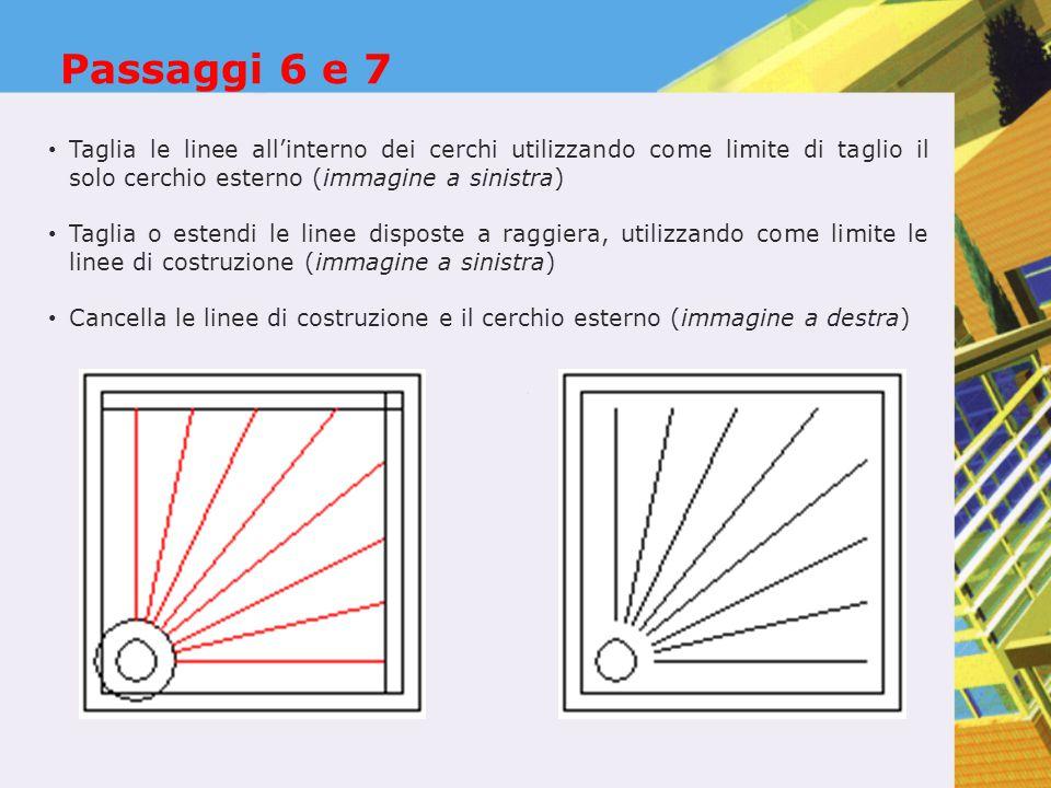 Passaggi 6 e 7 Taglia le linee all'interno dei cerchi utilizzando come limite di taglio il solo cerchio esterno (immagine a sinistra)