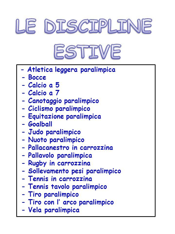 LE DISCIPLINE ESTIVE - Atletica leggera paralimpica - Bocce