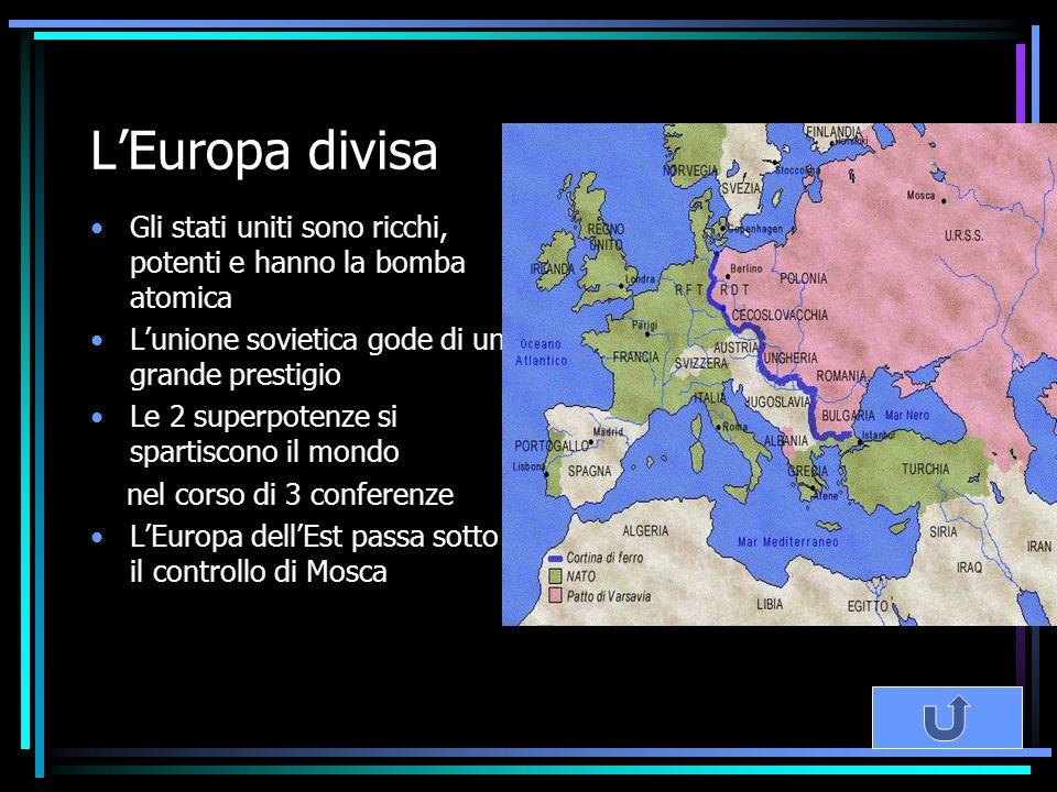 L'Europa divisa Gli stati uniti sono ricchi, potenti e hanno la bomba atomica. L'unione sovietica gode di un grande prestigio.