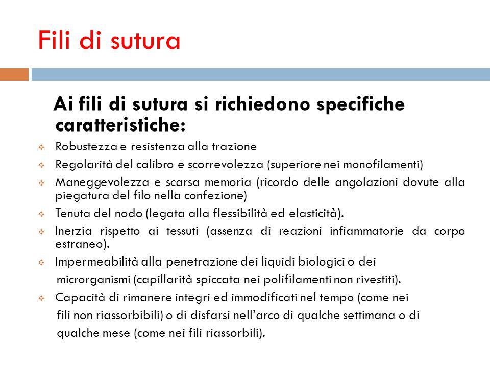 Fili di sutura Ai fili di sutura si richiedono specifiche caratteristiche: Robustezza e resistenza alla trazione.