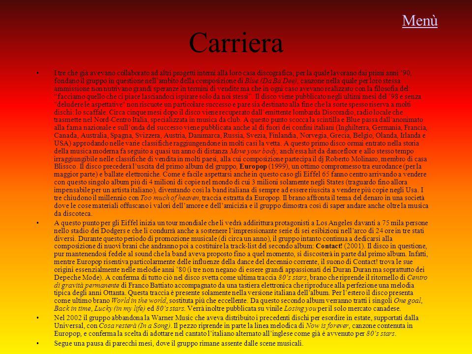 Menù Carriera.