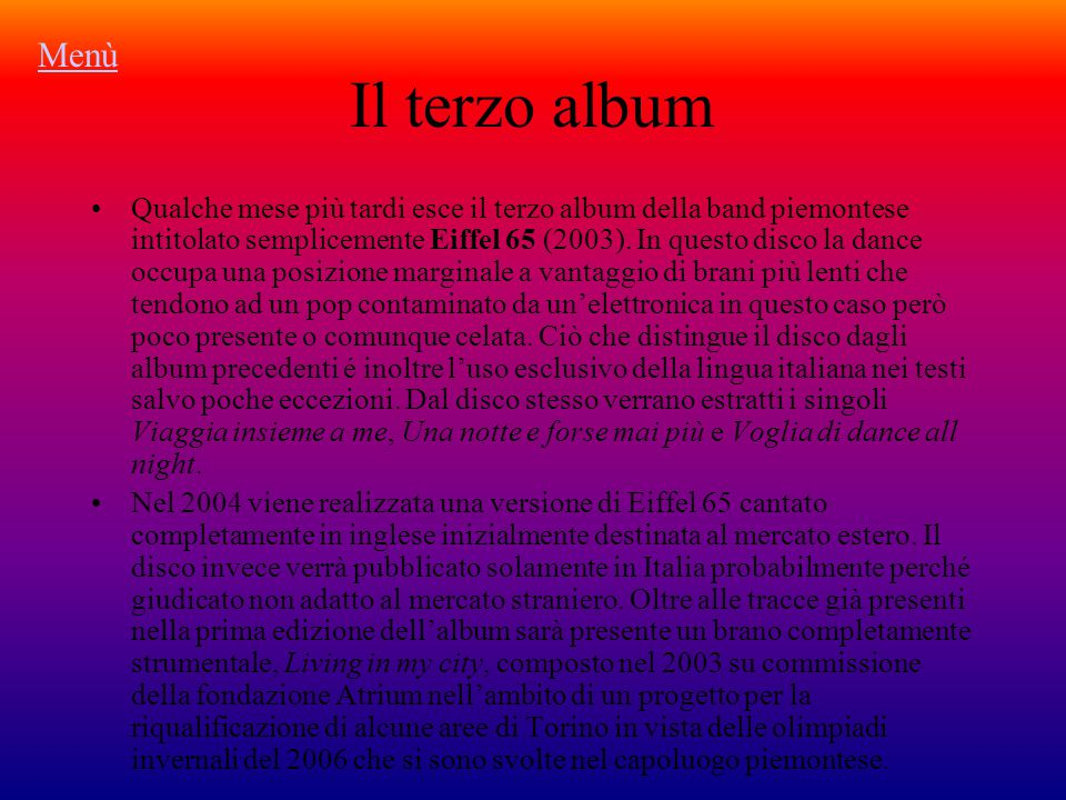Menù Il terzo album.