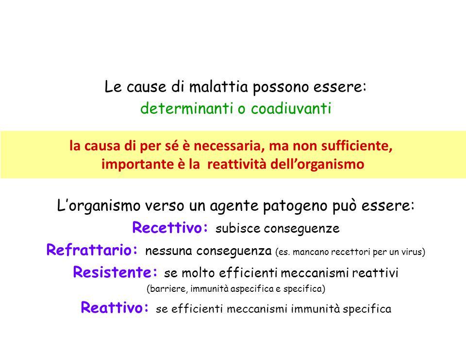 Le cause di malattia possono essere: determinanti o coadiuvanti