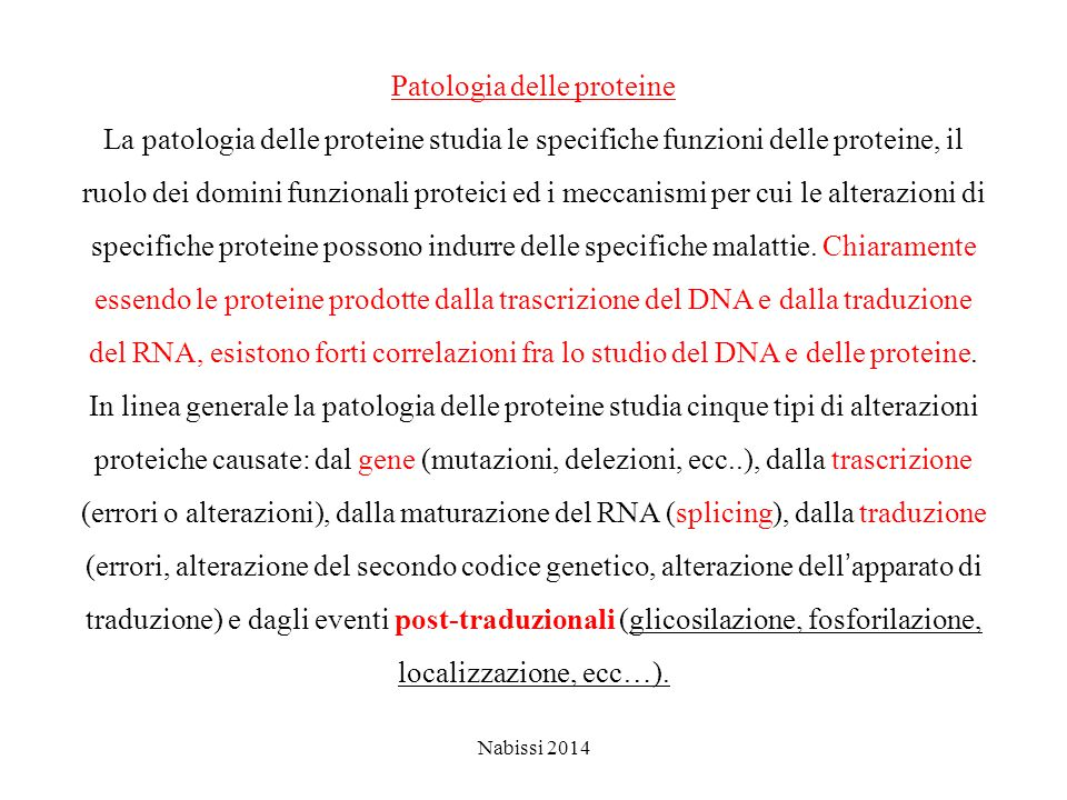 Patologia delle proteine