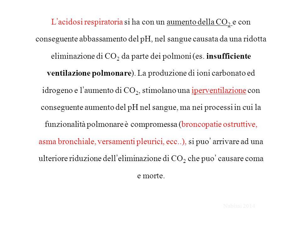 L'acidosi respiratoria si ha con un aumento della CO2 e con conseguente abbassamento del pH, nel sangue causata da una ridotta eliminazione di CO2 da parte dei polmoni (es. insufficiente ventilazione polmonare). La produzione di ioni carbonato ed idrogeno e l'aumento di CO2, stimolano una iperventilazione con conseguente aumento del pH nel sangue, ma nei processi in cui la funzionalità polmonare è compromessa (broncopatie ostruttive, asma bronchiale, versamenti pleurici, ecc..), si puo' arrivare ad una ulteriore riduzione dell'eliminazione di CO2 che puo' causare coma e morte.