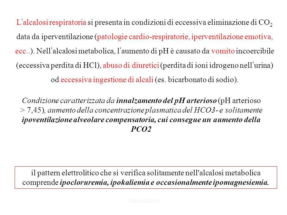 L'alcalosi respiratoria si presenta in condizioni di eccessiva eliminazione di CO2 data da iperventilazione (patologie cardio-respiratorie, iperventilazione emotiva, ecc..). Nell'alcalosi metabolica, l'aumento di pH è causato da vomito incoercibile (eccessiva perdita di HCl), abuso di diuretici (perdita di ioni idrogeno nell'urina) od eccessiva ingestione di alcali (es. bicarbonato di sodio).