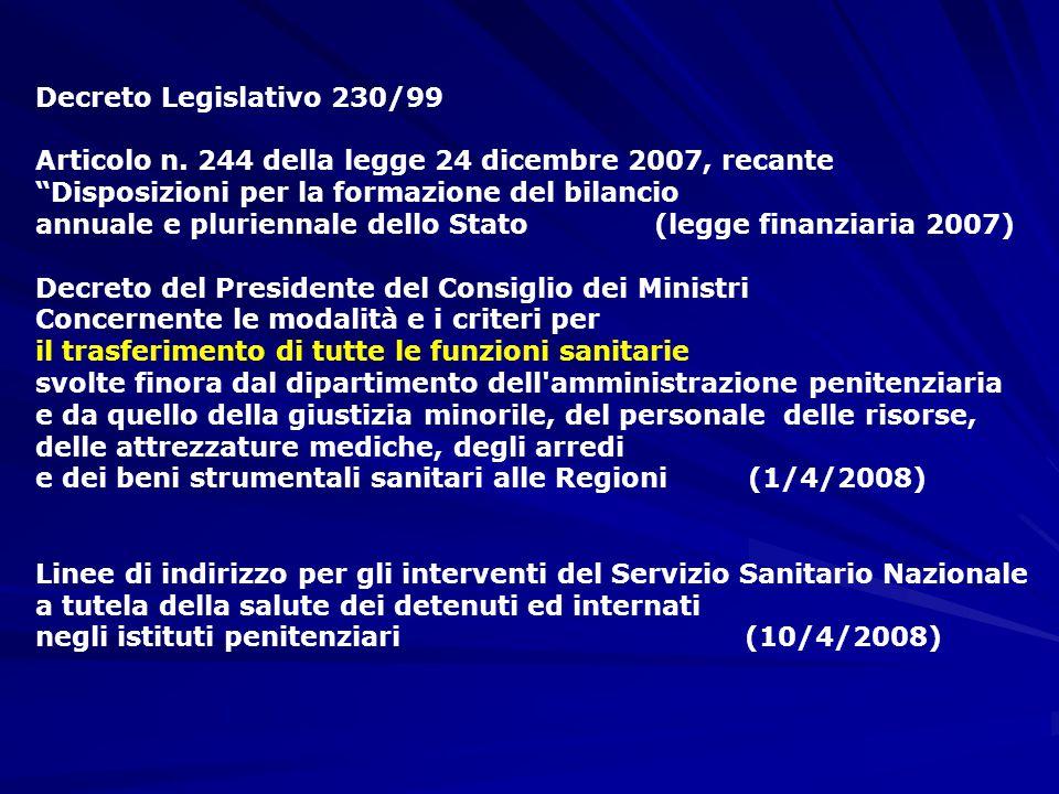 Decreto Legislativo 230/99 Articolo n. 244 della legge 24 dicembre 2007, recante. Disposizioni per la formazione del bilancio.