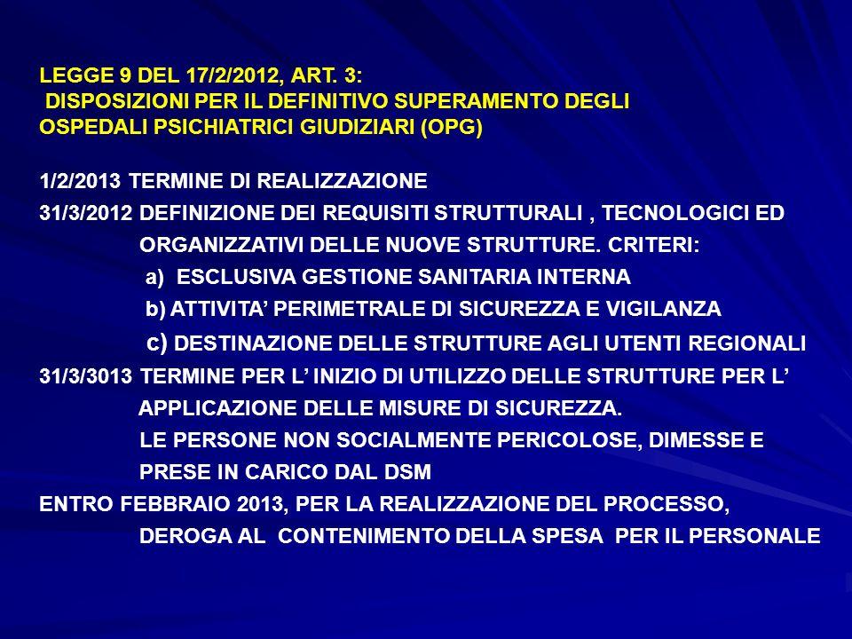 LEGGE 9 DEL 17/2/2012, ART. 3: DISPOSIZIONI PER IL DEFINITIVO SUPERAMENTO DEGLI. OSPEDALI PSICHIATRICI GIUDIZIARI (OPG)