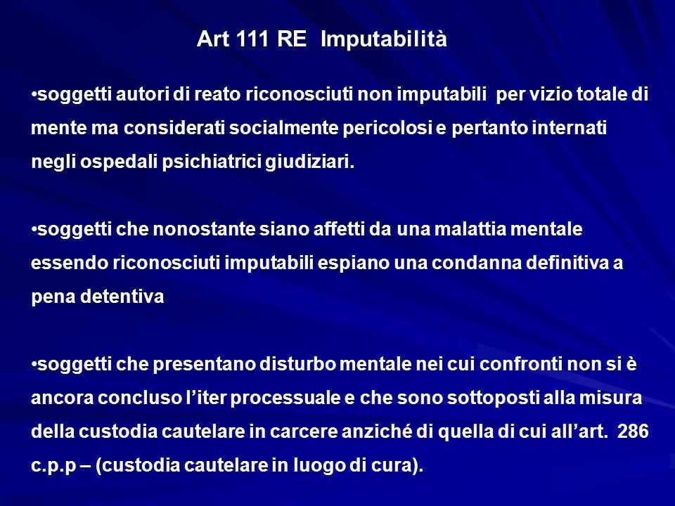 Art 111 RE Imputabilità