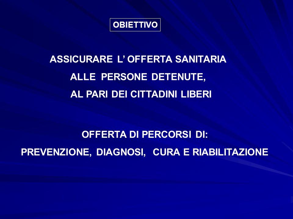 ASSICURARE L' OFFERTA SANITARIA ALLE PERSONE DETENUTE,