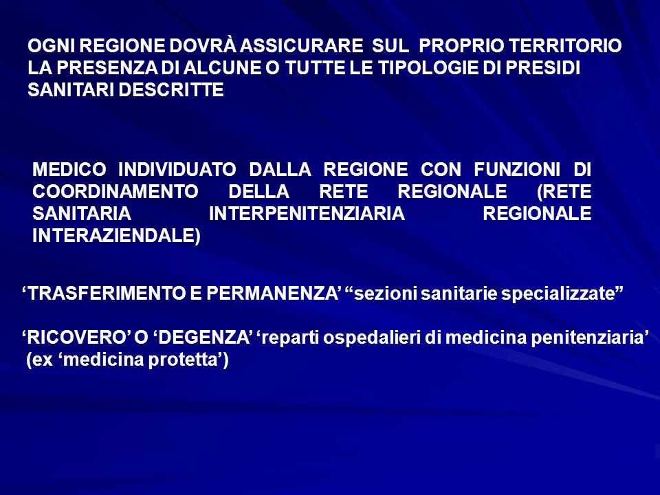 OGNI REGIONE DOVRÀ ASSICURARE SUL PROPRIO TERRITORIO