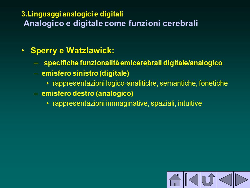 specifiche funzionalità emicerebrali digitale/analogico