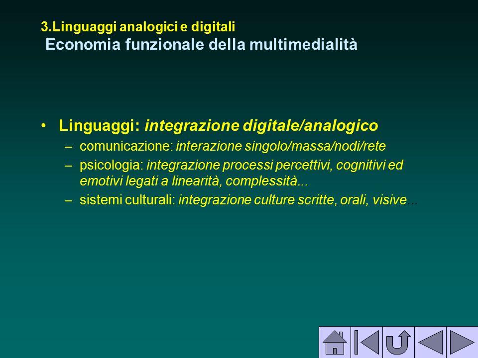 Linguaggi: integrazione digitale/analogico