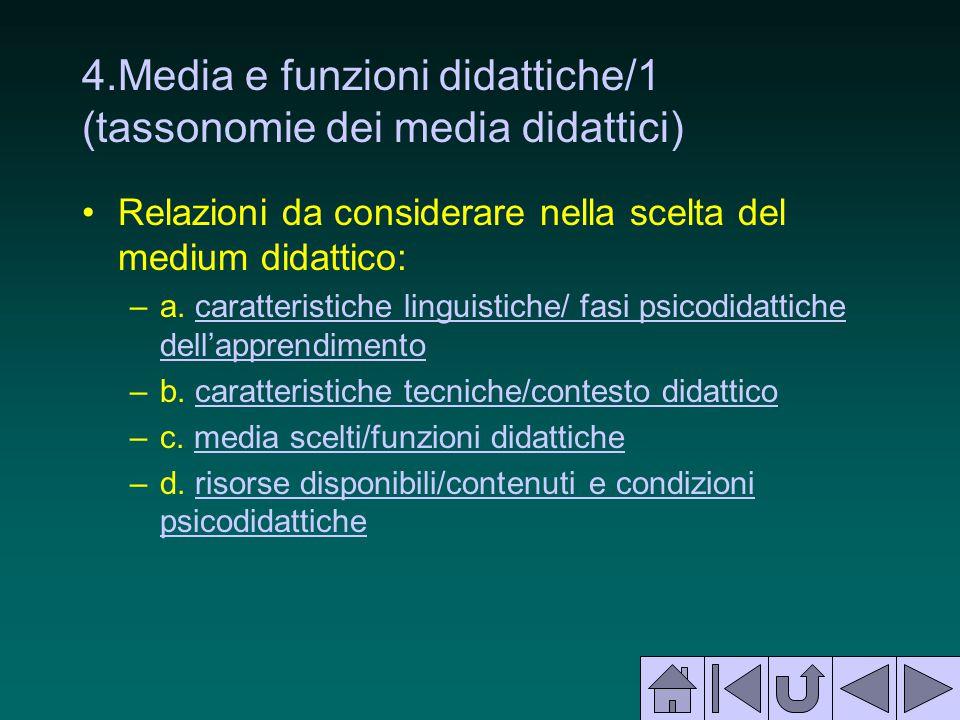 4.Media e funzioni didattiche/1 (tassonomie dei media didattici)
