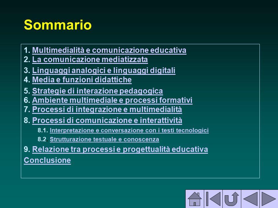 Sommario 1. Multimedialità e comunicazione educativa 2. La comunicazione mediatizzata.