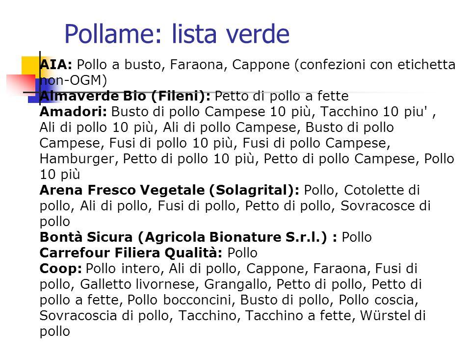 Pollame: lista verde