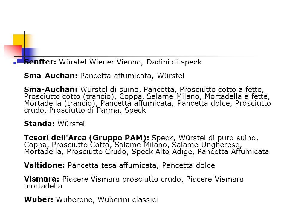 Senfter: Würstel Wiener Vienna, Dadini di speck Sma-Auchan: Pancetta affumicata, Würstel Sma-Auchan: Würstel di suino, Pancetta, Prosciutto cotto a fette, Prosciutto cotto (trancio), Coppa, Salame Milano, Mortadella a fette, Mortadella (trancio), Pancetta affumicata, Pancetta dolce, Prosciutto crudo, Prosciutto di Parma, Speck Standa: Würstel Tesori dell Arca (Gruppo PAM): Speck, Würstel di puro suino, Coppa, Prosciutto Cotto, Salame Milano, Salame Ungherese, Mortadella, Prosciutto Crudo, Speck Alto Adige, Pancetta Affumicata Valtidone: Pancetta tesa affumicata, Pancetta dolce Vismara: Piacere Vismara prosciutto crudo, Piacere Vismara mortadella Wuber: Wuberone, Wuberini classici