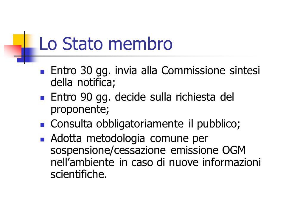 Lo Stato membro Entro 30 gg. invia alla Commissione sintesi della notifica; Entro 90 gg. decide sulla richiesta del proponente;
