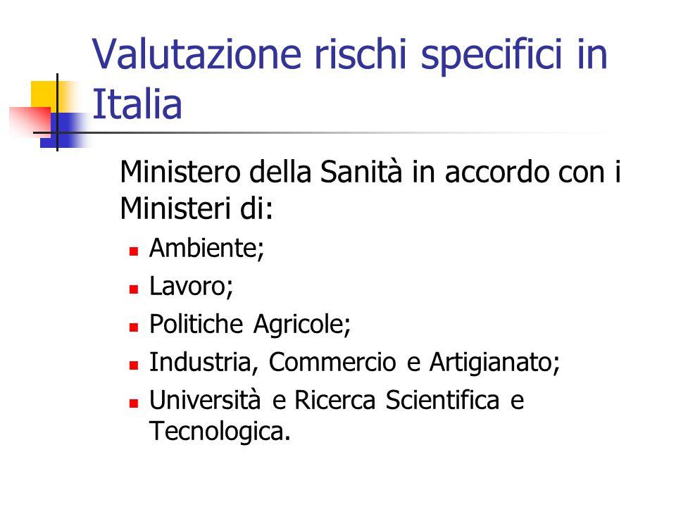 Valutazione rischi specifici in Italia