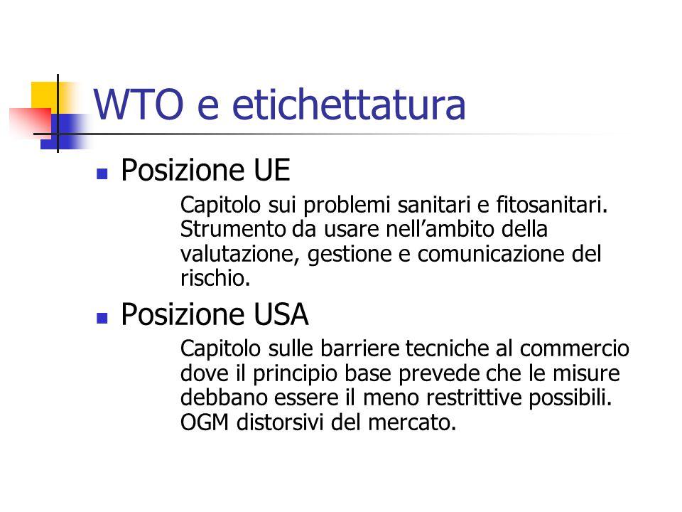 WTO e etichettatura Posizione UE Posizione USA