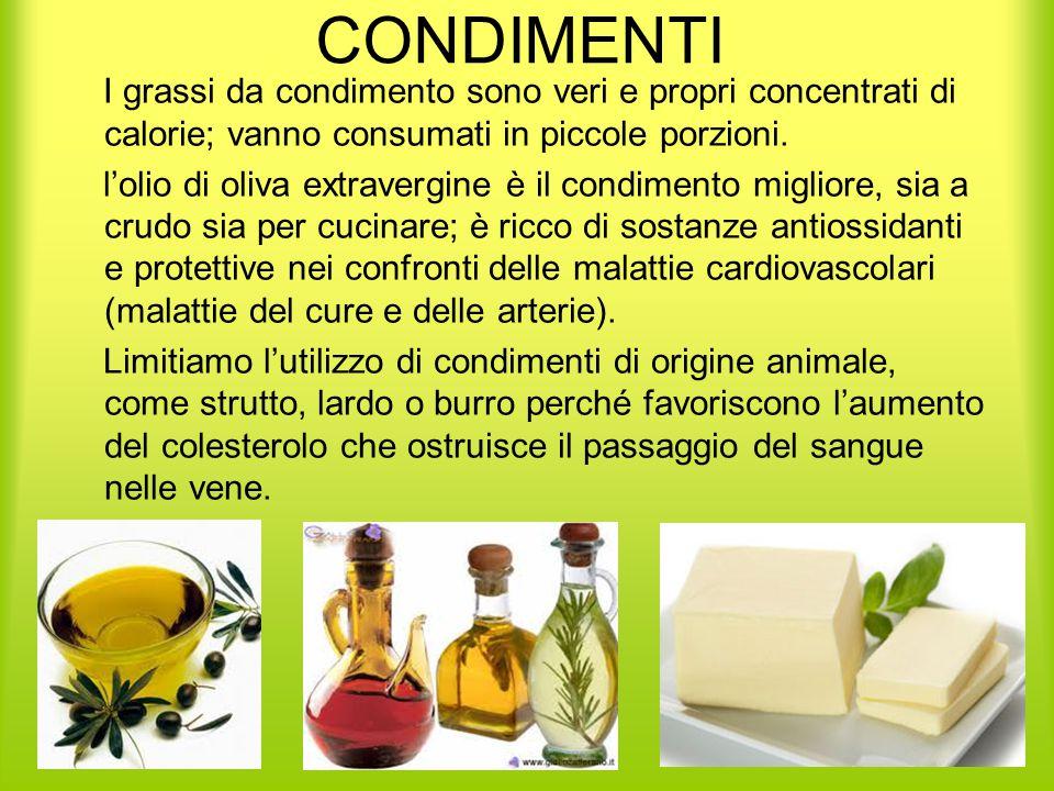 CONDIMENTI I grassi da condimento sono veri e propri concentrati di calorie; vanno consumati in piccole porzioni.