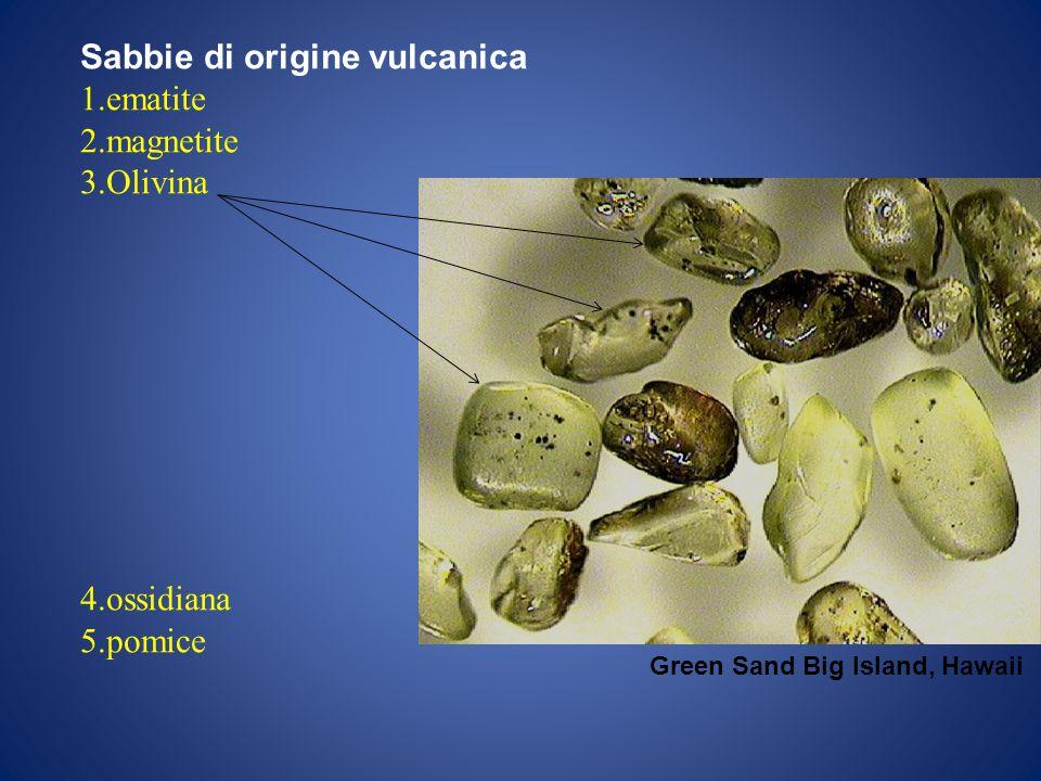 Sabbie di origine vulcanica ematite magnetite Olivina