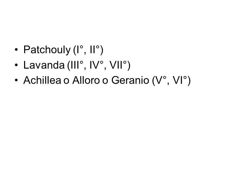 Patchouly (I°, II°) Lavanda (III°, IV°, VII°) Achillea o Alloro o Geranio (V°, VI°)