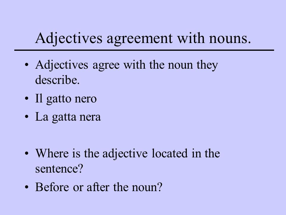 Adjectives agreement with nouns.