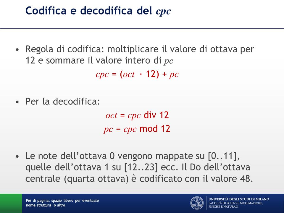 Codifica e decodifica del cpc
