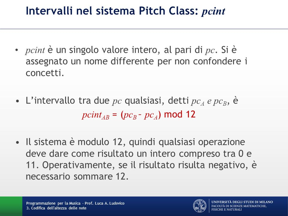 Intervalli nel sistema Pitch Class: pcint