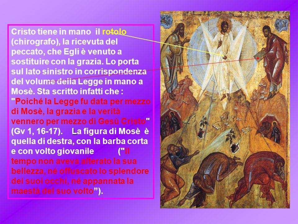Cristo tiene in mano il rotolo (chirografo), la ricevuta del peccato, che Egli è venuto a sostituire con la grazia.