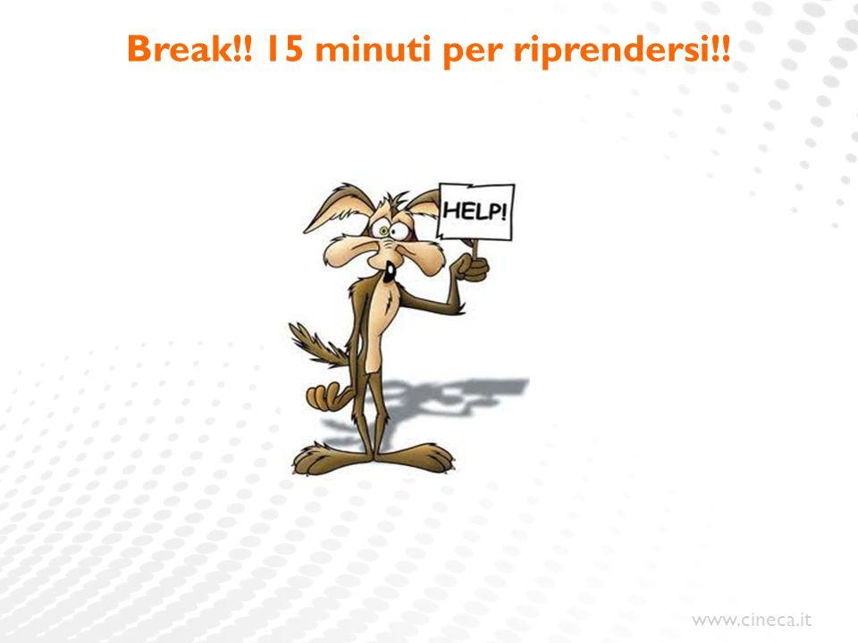 Break!! 15 minuti per riprendersi!!