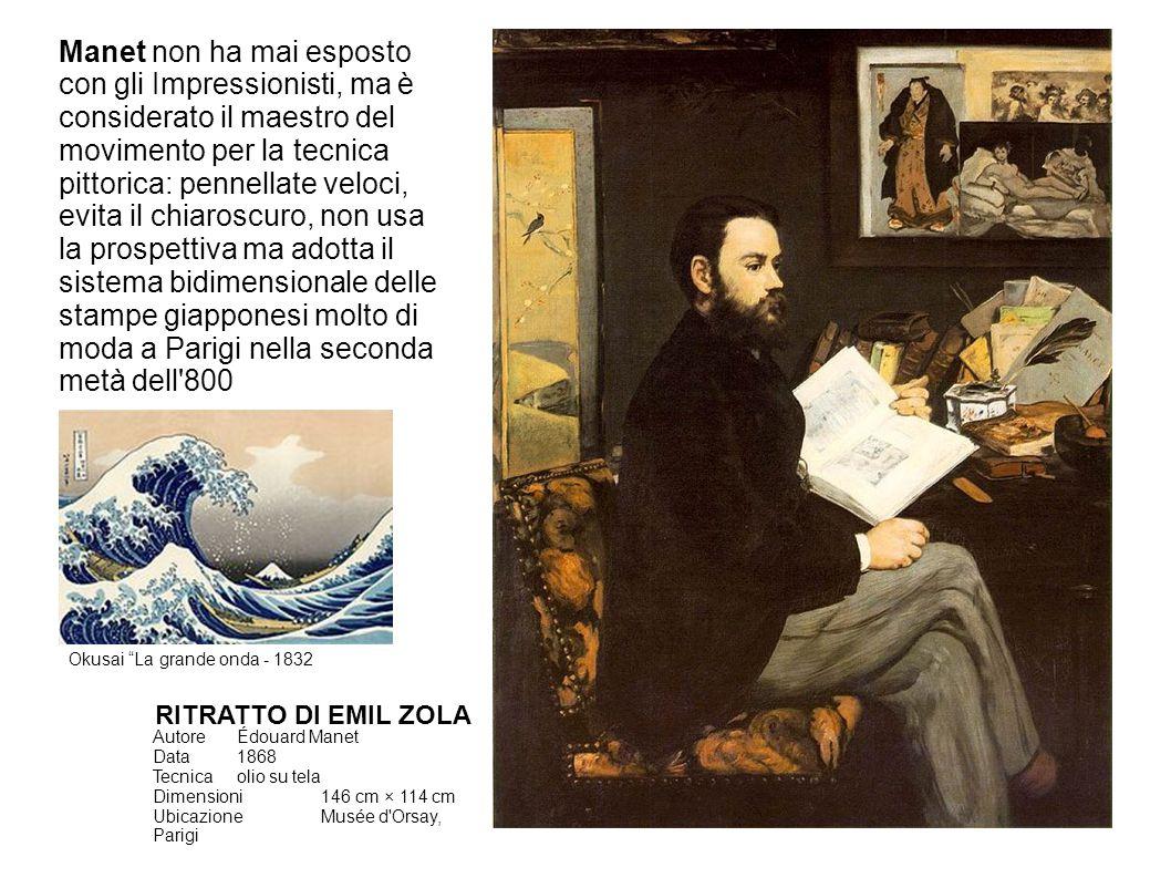 Manet non ha mai esposto con gli Impressionisti, ma è considerato il maestro del movimento per la tecnica pittorica: pennellate veloci, evita il chiaroscuro, non usa la prospettiva ma adotta il sistema bidimensionale delle stampe giapponesi molto di moda a Parigi nella seconda metà dell 800