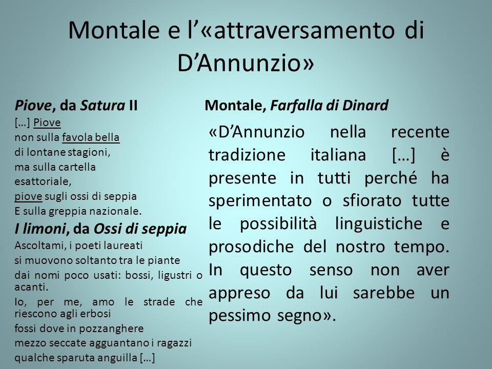 Montale e l'«attraversamento di D'Annunzio»