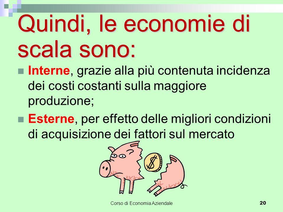 Quindi, le economie di scala sono: