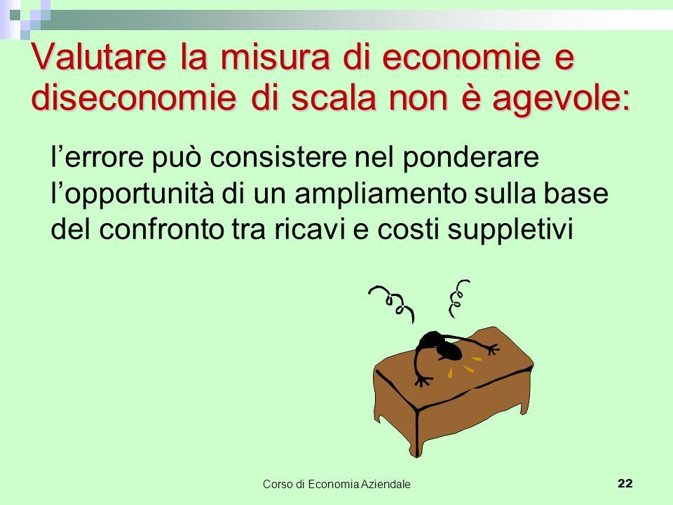 Valutare la misura di economie e diseconomie di scala non è agevole: