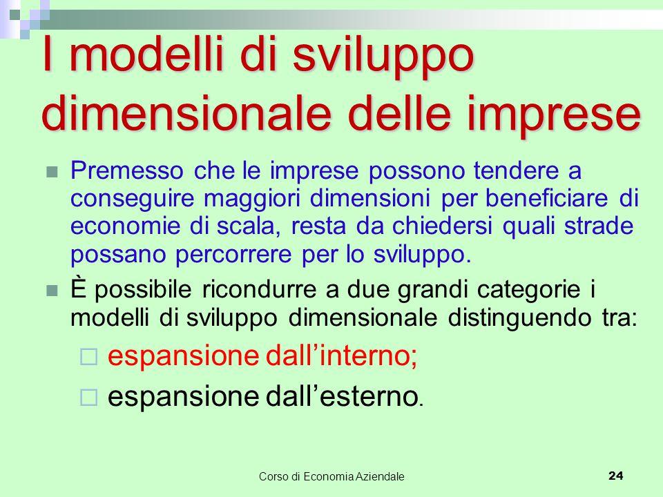 I modelli di sviluppo dimensionale delle imprese