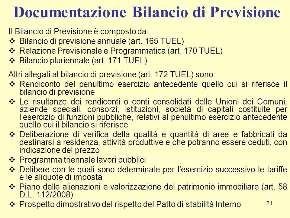 Documentazione Bilancio di Previsione