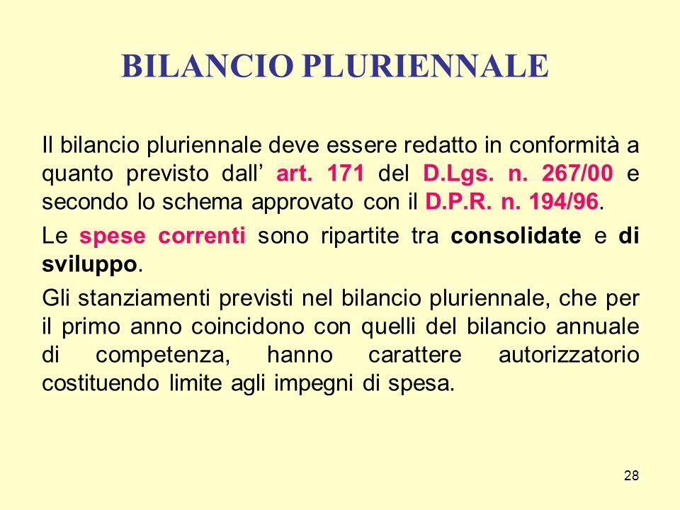 BILANCIO PLURIENNALE
