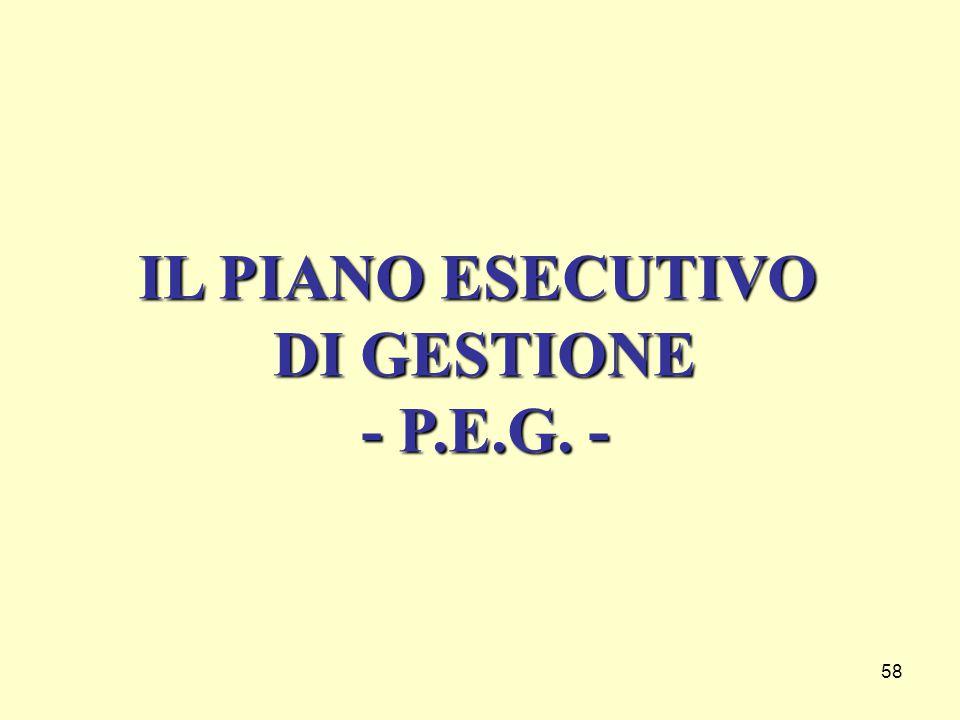 IL PIANO ESECUTIVO DI GESTIONE - P.E.G. -